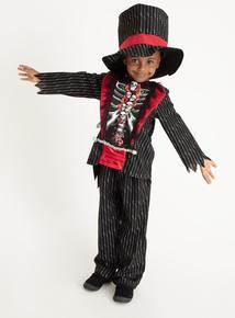Black Halloween Skeleton Tuxedo Costume Set (3-12 years)