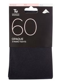 Black 60 Denier Opaque Tights 3 Pack