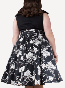 EMILY Black Floral Courtney Contrast A Line Dress