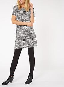 Black Stripe Abstract Geo Tunic