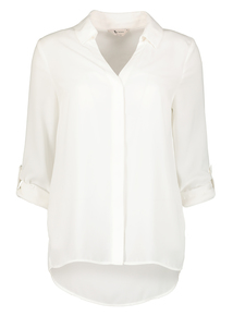 PETITE Online Exclusive Cream Roll Sleeve Blouse