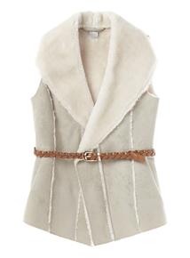 Girls Grey Suede Fur Gilet (3-12 years)