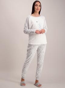 Christmas Grey Polar Bear Fleece Pyjamas