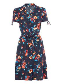Navy Floral Tea Dress