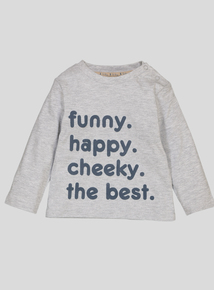 Grey Slogan Long Sleeve T-Shirt (0-24 Months)