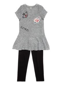 Grey Floral Badge Dress and Legging Set (3-14 years)