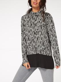 Monochrome Woven Hem Printed Shirt