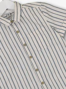 White & Navy Stripe Shirt (3 - 14 years)