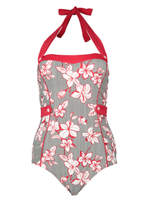 Red Floral Stripe Retro Swimsuit