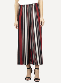 IZABEL Burgundy Striped Wide Leg Trousers