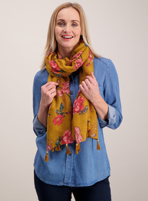 Mustard Floral Woven Scarf With Tassels