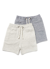 2 Pack Multicoloured Textured Grey Shorts (9 months-6years)