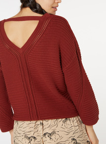 Online Exclusive Back Detail V Neck Jumper