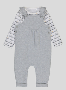 Grey Quilted Dungarees Set (0-24 months)
