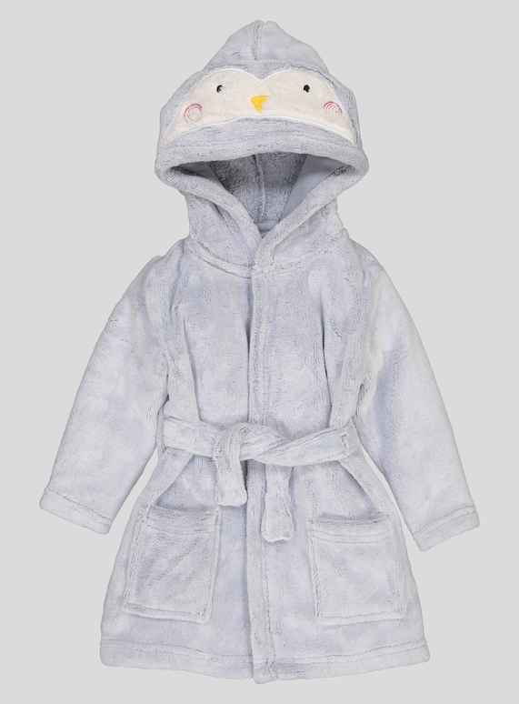 d40e81871 Baby Grey Penguin Fleece Dressing Gown (0- 12 months) | Tu clothing