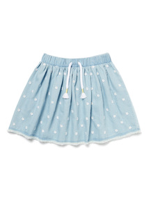 Denim Floral Embroidered Skirt (9 months-6 years)