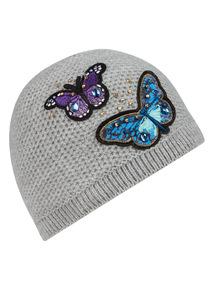 Grey Embellished Hat