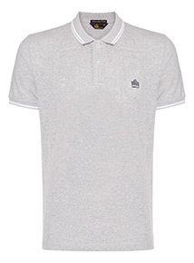 Admiral Grey Tipped Textured Polo Shirt