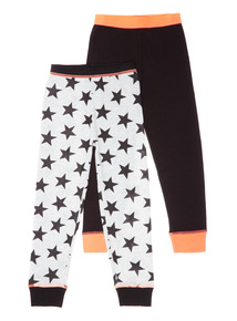Black Two Pack Star Thermal Long-Johns