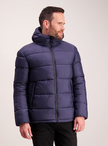 Navy Thermolite Hooded Puffer Jacket