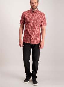 Dark Red Ditsy Print Shirt