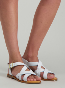 96b496057 Online Exclusive White Leather Multi Strap Sandals