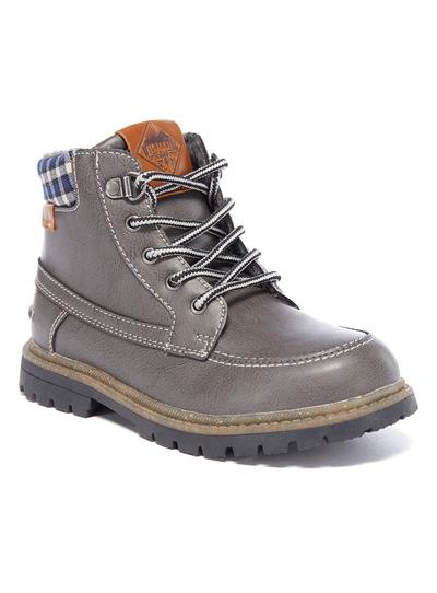 Grey Chunky Tartan Lace-Up Boots
