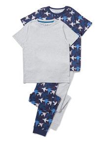 2 Pack Navy and Grey Plane Print Pyjamas (1.5-12 years)