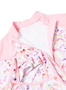 Pink Geometric Print Rash Vest and Bikini Set (4-14 Years)