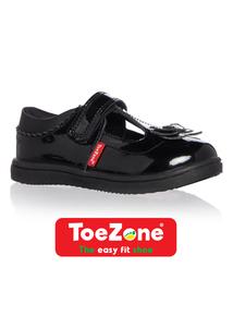 Girls Black ToeZone Coated Leather Shoes