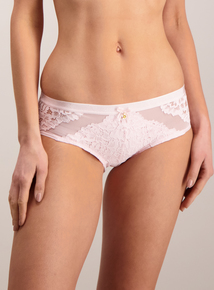 Pink Lace Panel Shorts