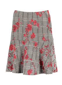 Multicoloured Rose Check Peplum Skirt
