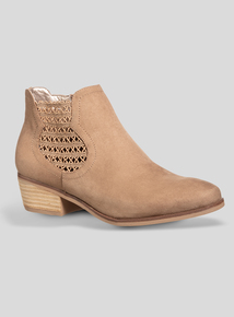Beige Lace Gusset Ankle Boot