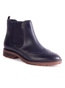 Sole Comfort Navy Brogue Chelsea Ankle Boot