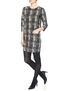 Black Mono Brushed Check Dress