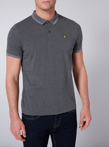 Admiral Grey Dogtooth Print Polo Shirt