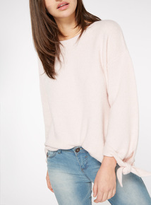 Pale Pink Knot Sleeve Slouch Jumper