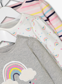 Multicoloured Rainbow Print T-Shirts 3 Pack (0-24 months)