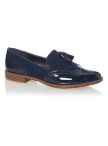 Navy Punched Slipper Cut Loafers