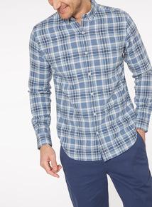 Blue Marl Long Sleeve Check Shirt