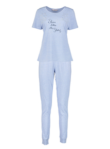 Blue Marl 'Shine like the Stars' Pyjama Set