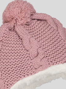 Pink Cable Knit Trapper Hat (Newborn - 2 years)