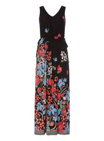 Multicoloured Floral Border Maxi Dress
