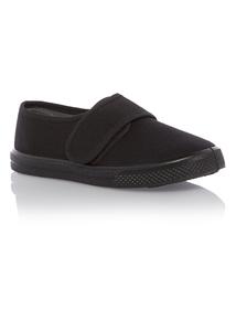 Unisex Black Velcro Plimsoll