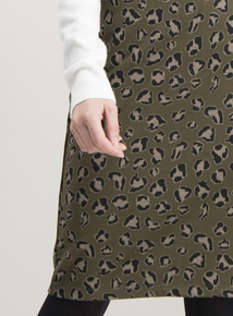 Green Khaki Animal Print Jersey Skirt