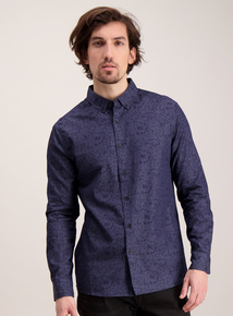 Navy Blue Slim Fit Floral Shirt