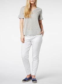 Grey Frill Sleeve T-Shirt