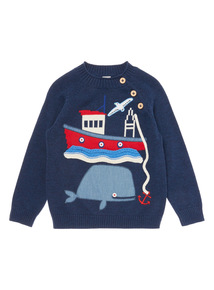 Boys Navy Boat Appliqué Jumper (9 months-6 years)