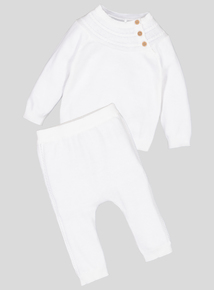 White Knitted Jumper & Legging Set (0-12 months)
