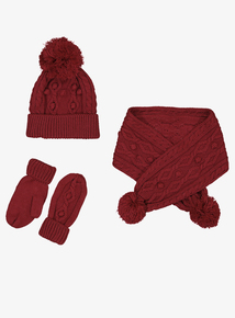 Red Cable Knit Scarf, Hat & Mittens Set (1-13 Years)